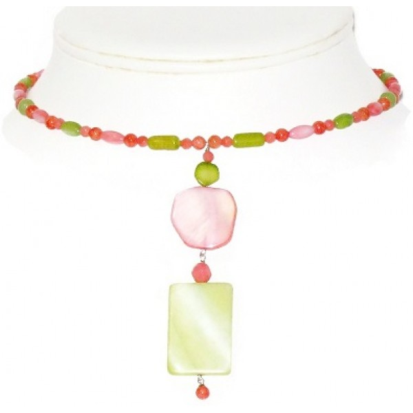 Coral, Celery and Olive Green Choker