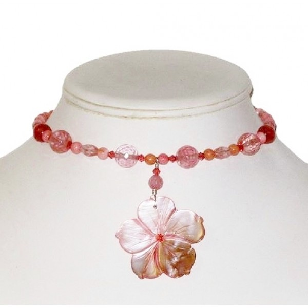 Coral and Pink Choker with Mother-of-Pearl Flower Pendant