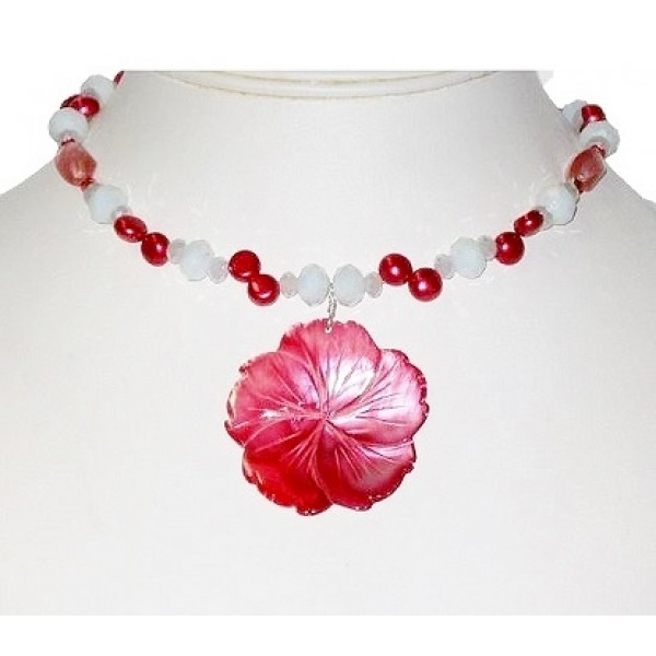 Raspberry and White Choker with Flower Pendant