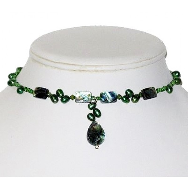 Forest Green Choker with Abalone Shell and Dancing Freshwater Pearls