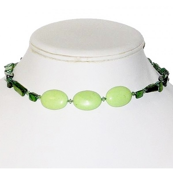 Green Chalk Turquoise, Mother-of-Pearl and Crystal Choker