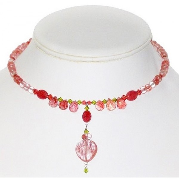 Pink Cherry Quartz Choker with Heart-Shaped Pendant