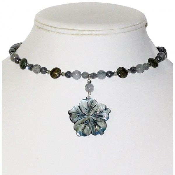 Gray Choker with Bluish Gray Flower Pendant