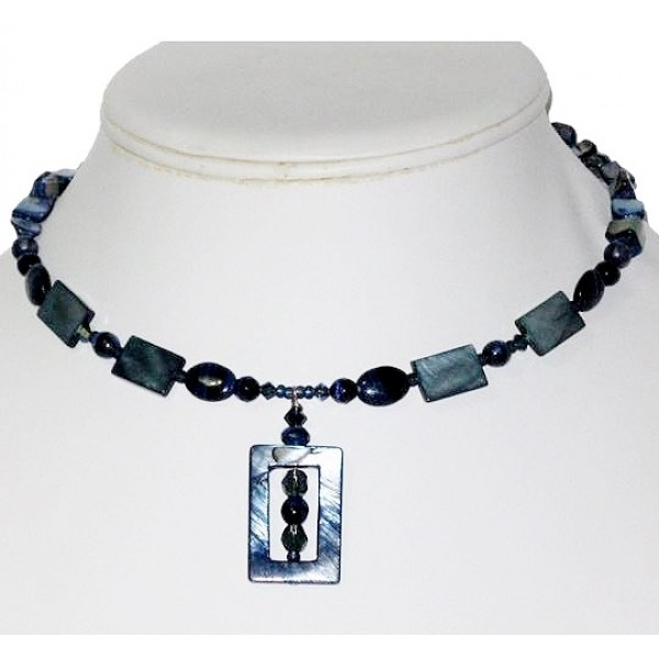 Navy Blue Choker with Drop Pendant