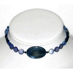 Navy Blue Mother-of-Pearl and Cat's Eye Choker