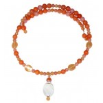 Peach and Salmon Choker with Agate Pendant