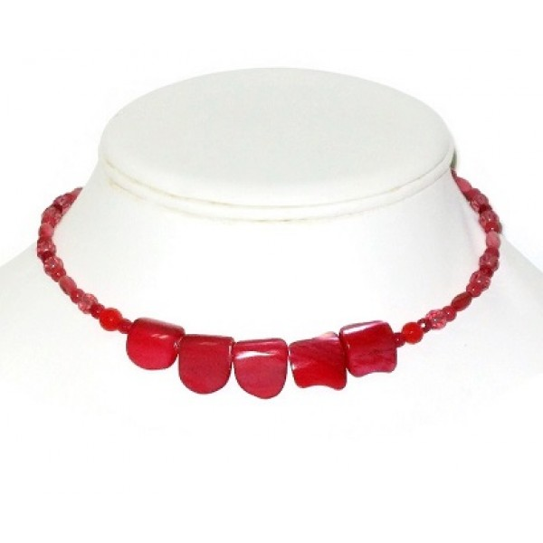 Raspberry and Watermelon Choker with Mother-of-Pearl Center