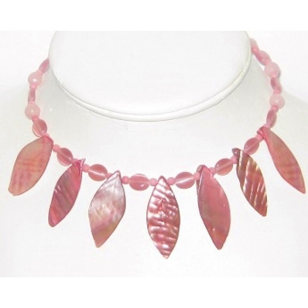 Pink Mother-of-Pearl Leaf Choker