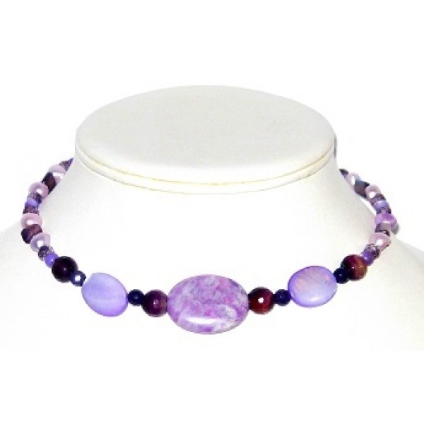 Purple Choker with Semi-Precious Stones and Mother-of-Pearl