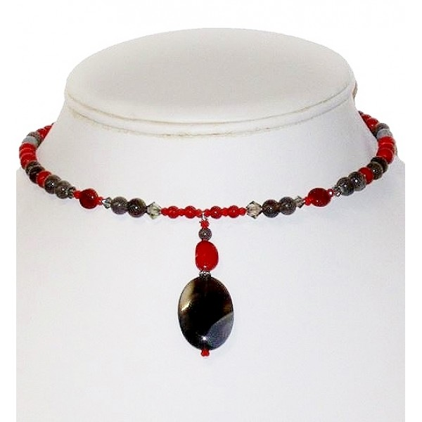 Red and Gray Choker with Botswana Drop Pendant