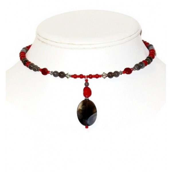 Red and Gray Choker