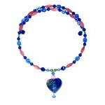 Sapphire, Royal Blue, Green and Pink Choker with Heart Pendant
