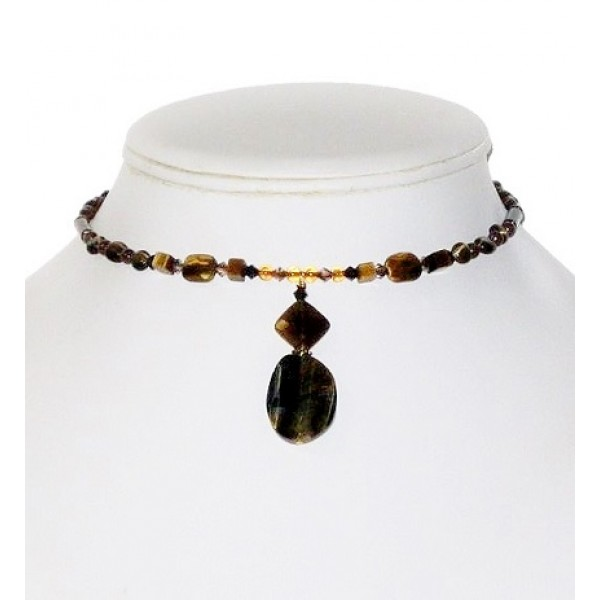 Tiger Eye Choker with Faceted Drop Pendant
