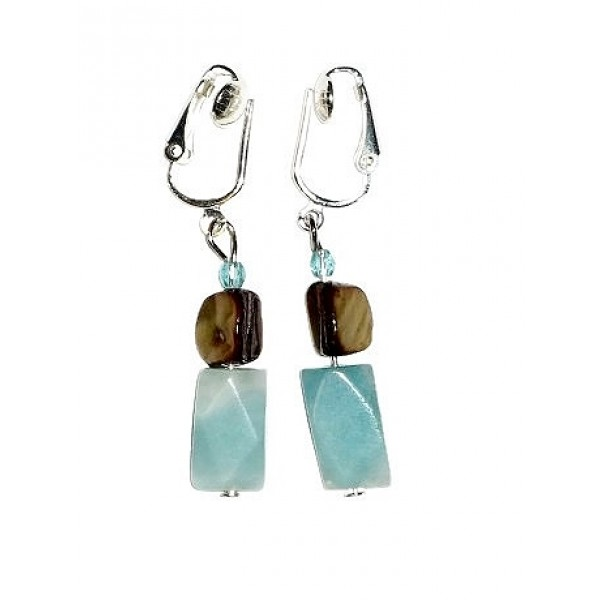 Amazonite and Mother-of-Pearl Clip-On Earrings