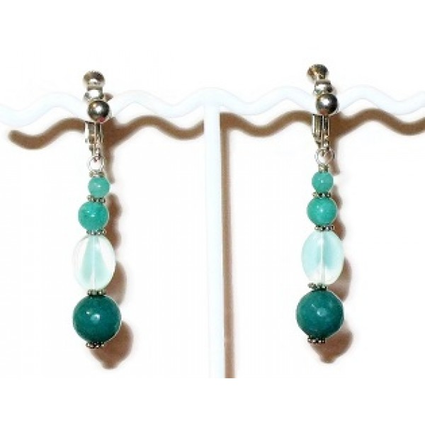 Teal and Aqua Adjustable Clip On Earrings