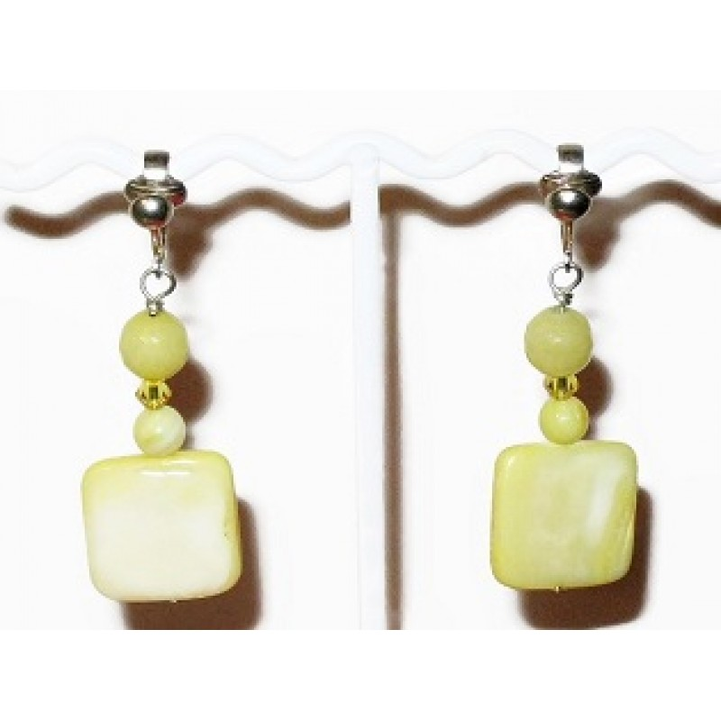 Yellow Jade Crystal And Mother Of Pearl Clip On Earrings