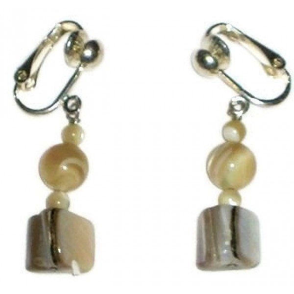 Beige Mother-of-Pearl Clip-On Earrings