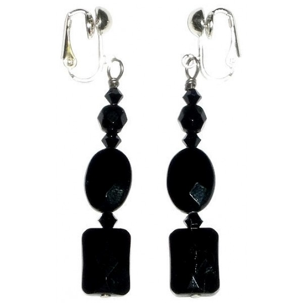 Black Onyx and Swarovski Crystal Clip-On Earrings