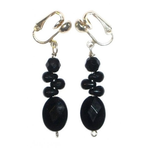 Black Clip-On Earrings with Zig Zag Beads