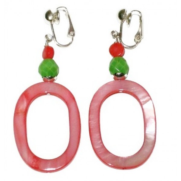 Coral and Green Oval Clip-on Earrings