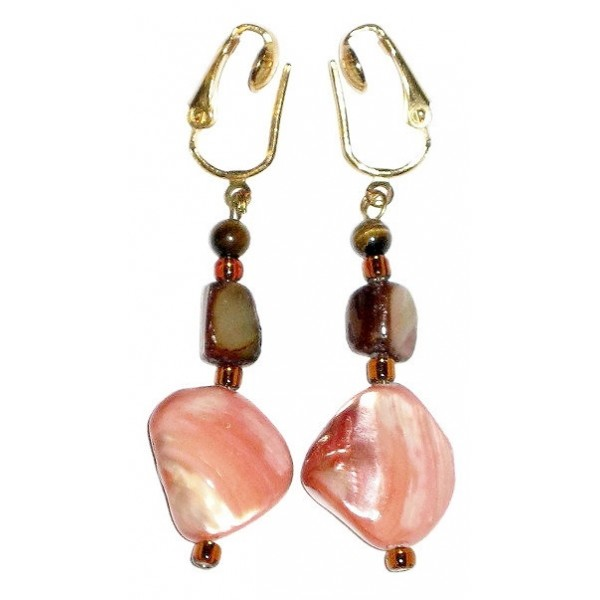 Coral and Brown Clip-On Earrings