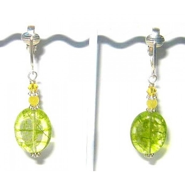 Green Crackle Quartz Pierced-Look Clip On Earrings