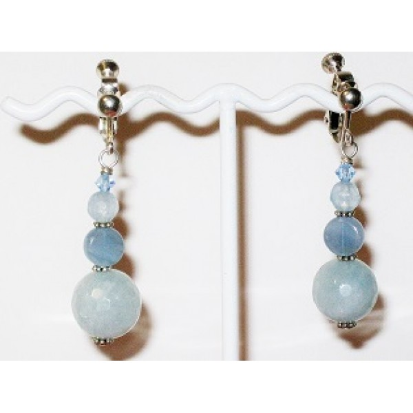 Ice Blue and Denim Blue Adjustable Clip On Earrings