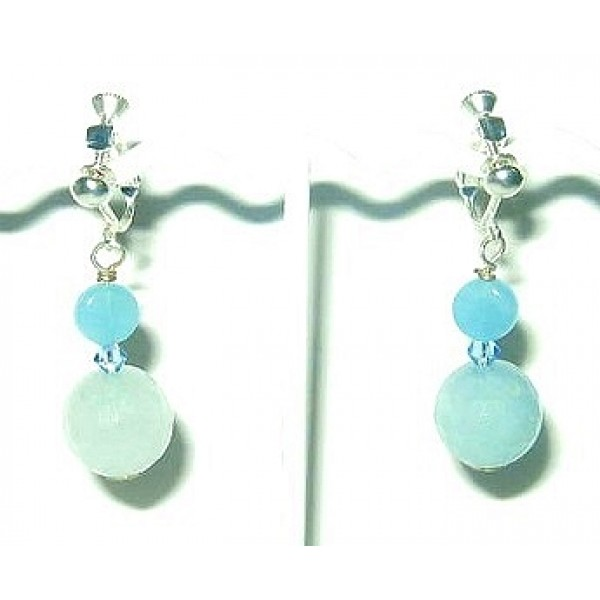 Ice Blue and Turquoise Adjustable Clip On Earrings