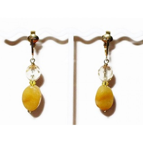 Yellow and Champagne Pierced-Look Clip On Earrings
