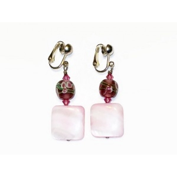 Light and Dark Pink Earrings with Lampwork Glass Beads