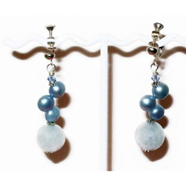 Powder Blue Pearl, Crystal and Jade Adjustable Clip On Earrings