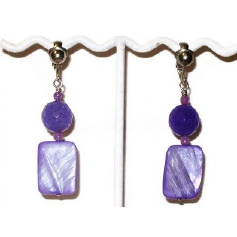 Purple Jade And Rectangle Mother Of Pearl Clip On Earrings