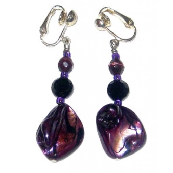 Purple and Black Zebra Clip On Earrings