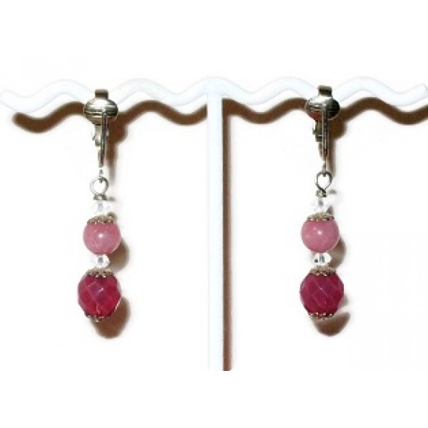 Pink Jade and Crystal Clip Pierced-Look On Earrings