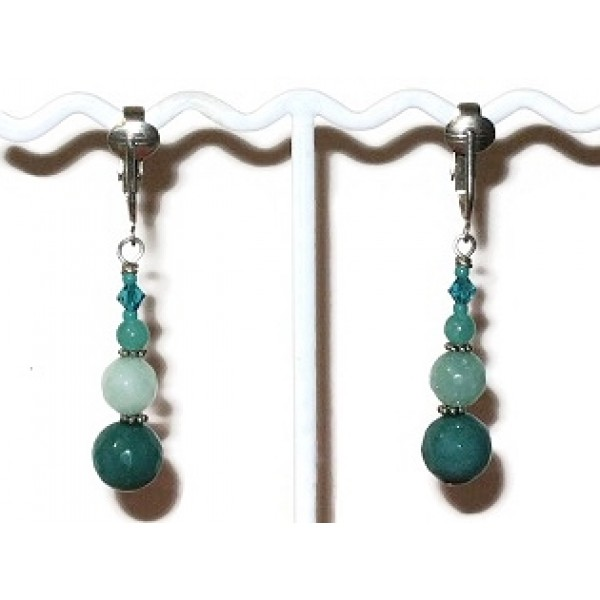 Teal and Aqua Pierced-Look Clip On Earrings