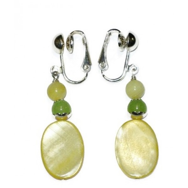 Yellow and Celery Green Clip-on Earrings