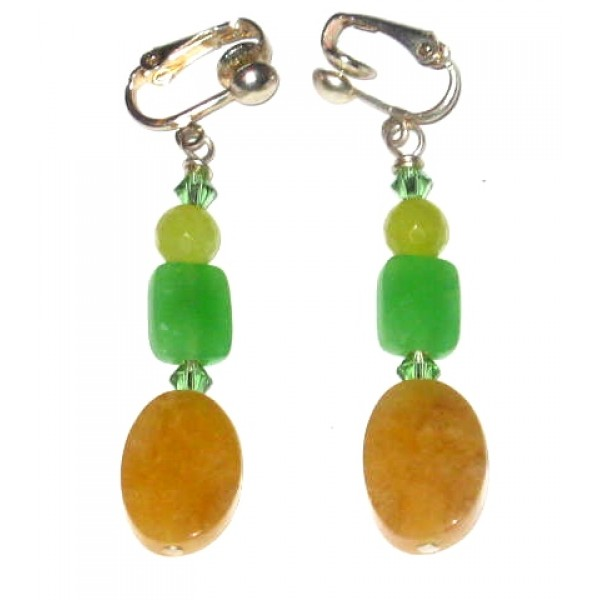 Yellow Jade and Green Faceted Quartz Clip On Earrings with Crystals