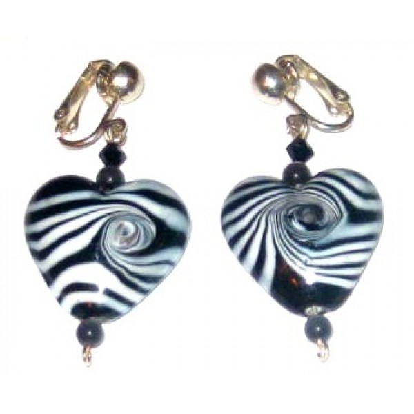 Black and White Zebra Heart Clip On Earrings