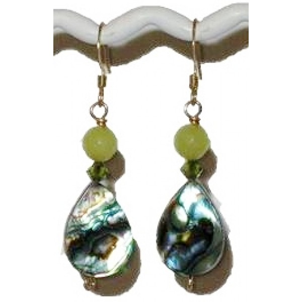 Light Apple Green and Abalone Briolette Earrings