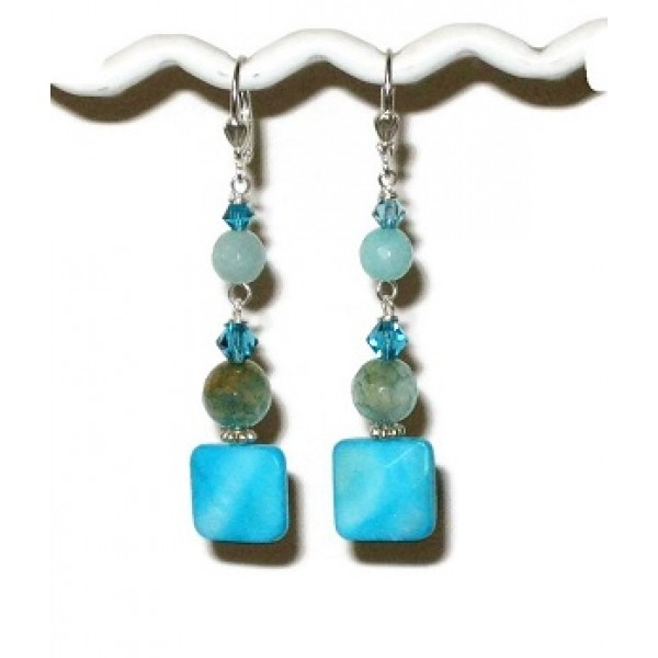 Island Blue, Cyan Turquoise and Aqua Dangle Earrings
