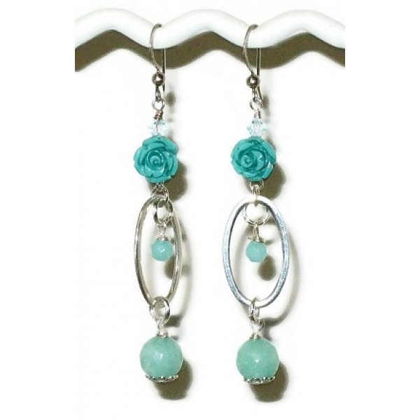 Aqua and Mint Green Sterling Silver  Flower Earrings