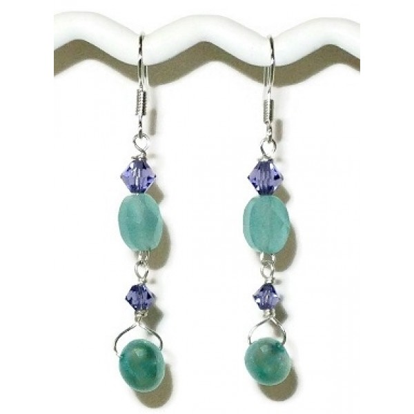Aqua and Violet Earrings