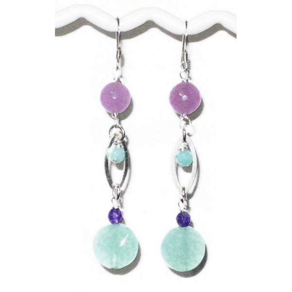 Purple and Aqua Sterling Silver Earrings