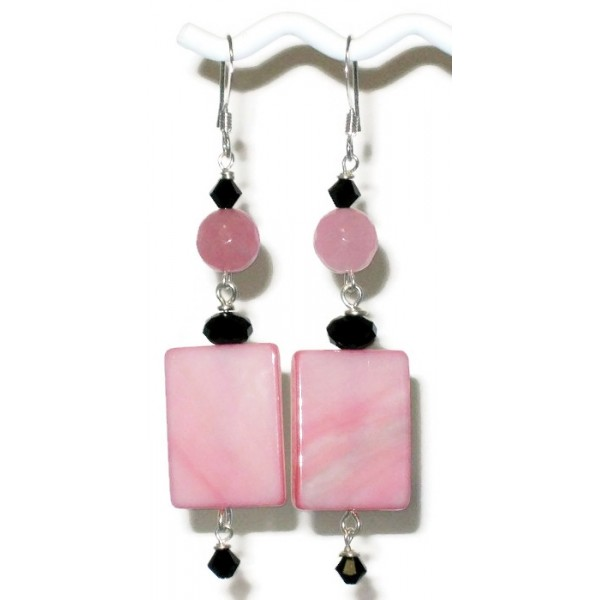 Pink and Black Mother-of-Pearl Earrings