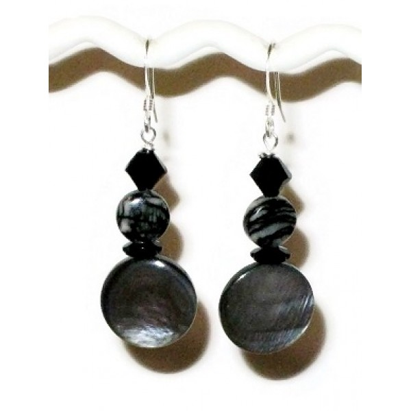 Gray Mother-of-Pearl and Black Earrings with Jasper Beads