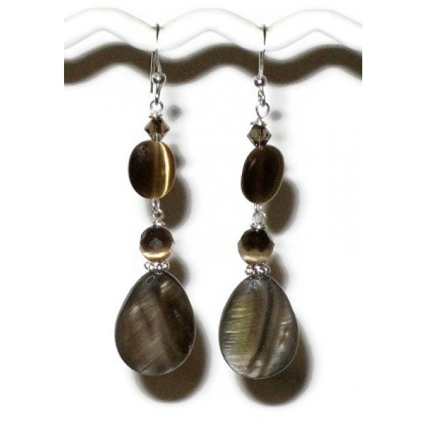 Brown Dangle Earrings with Pear-shaped Mother-of-Pearl Beads