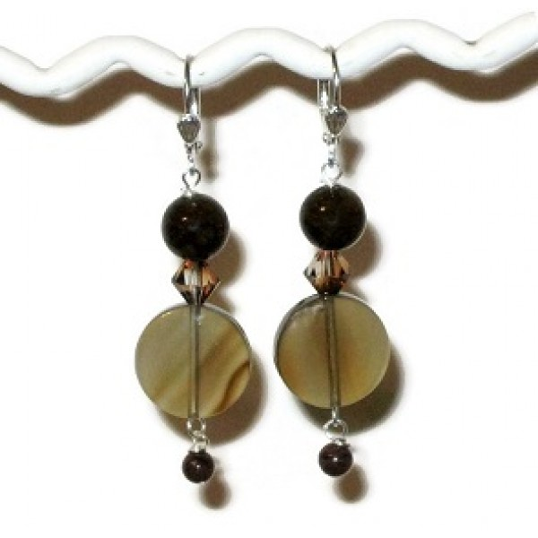 Brown Jade and Agate Earrings