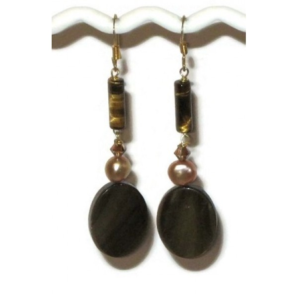 Brown and Champagne Earrings with Tiger Eye Beads