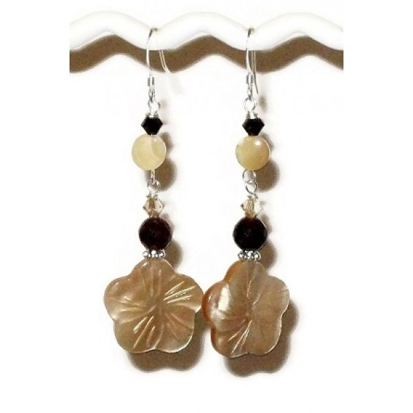 Beige and Dark Brown Flower Earrings