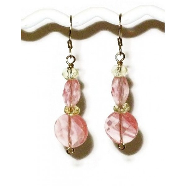 Cherry Quartz and Champagne Earrings